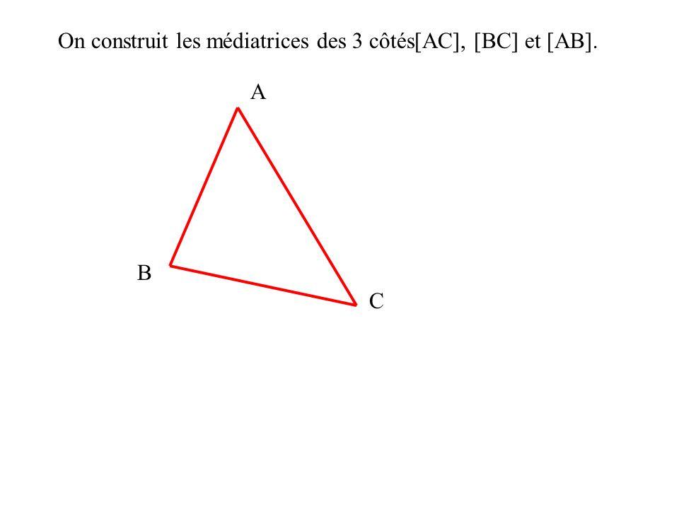 On construit les médiatrices des 3 côtés[AC], [BC] et [AB].